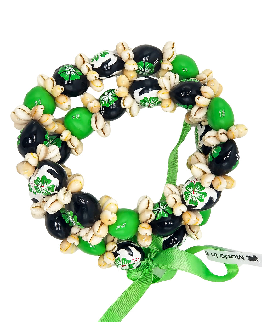"Barbra Collection Hawaiian Leis Kukui Nut Beads Necklaces with Cowrie Shell for Men and Women 28"" Adjustable Assorted Color Lei"