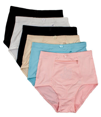 Barbra Lingerie Women's 6 pack Travel Pocket Underwear Girdle Brief Panties