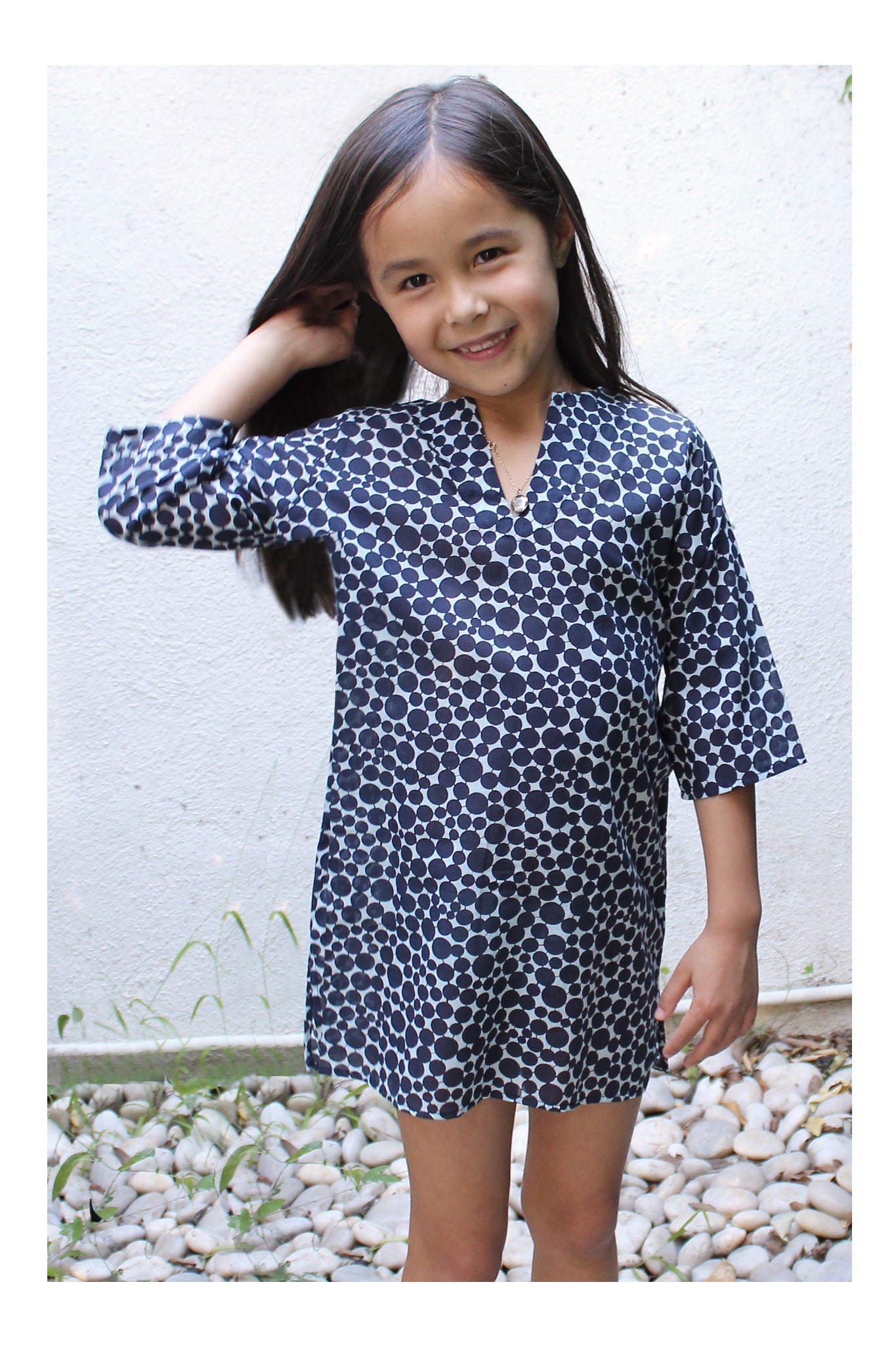 Girls Classic Tunic In Navy Dot
