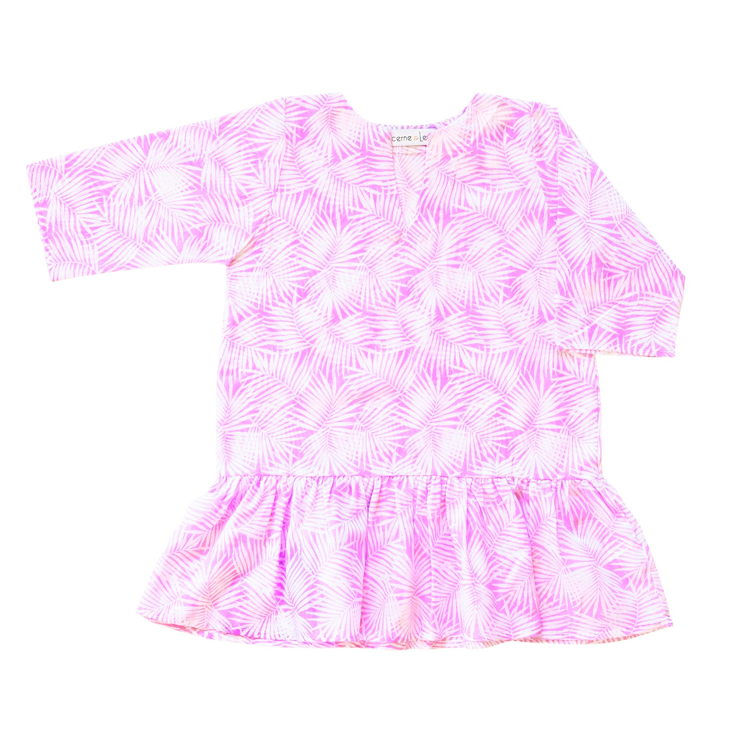 Girls Gathered Tunic In Pink Palm