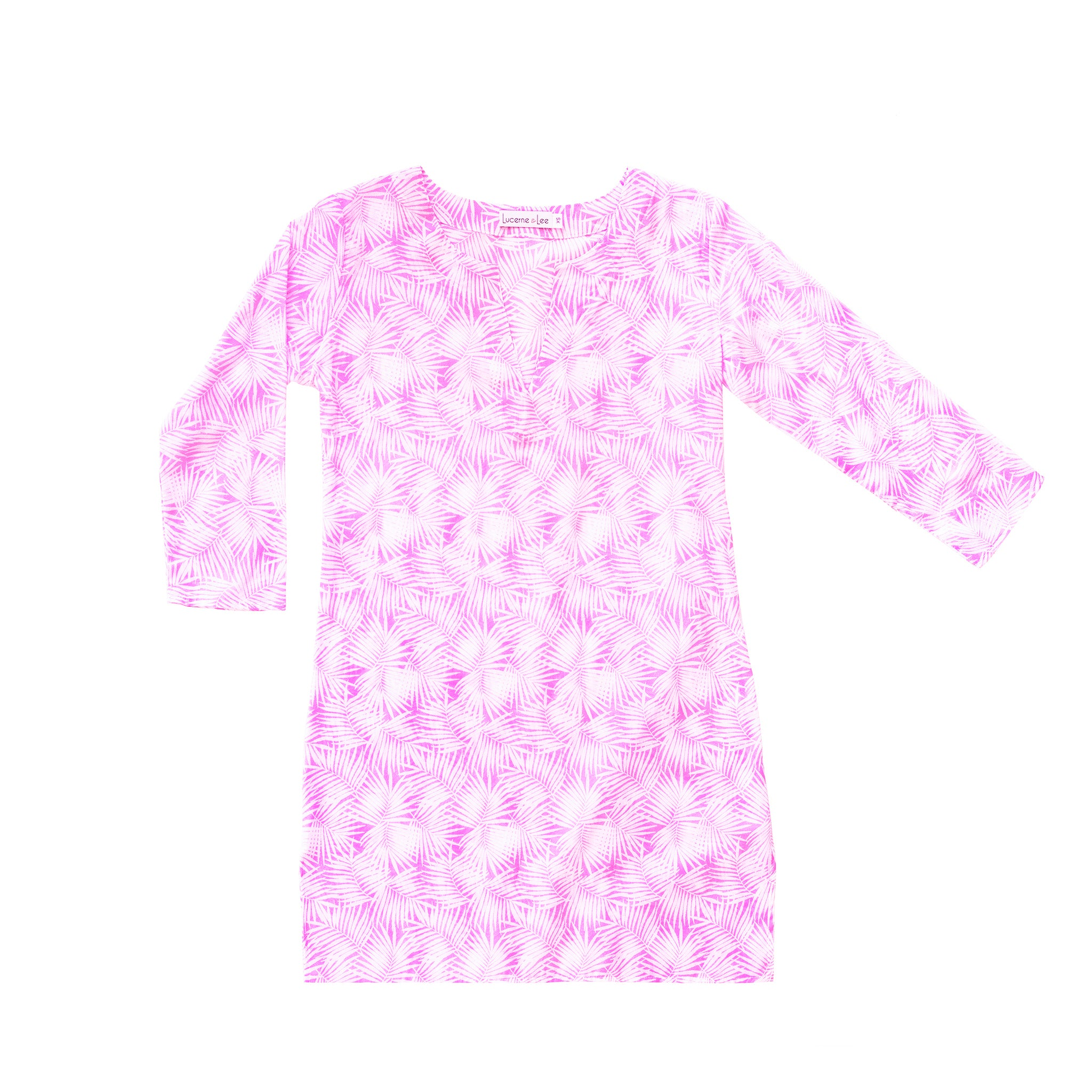 Womens Classic Tunic In Pink Palm