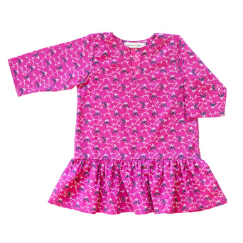 Girls Gathered Tunic In Raspberry Vine