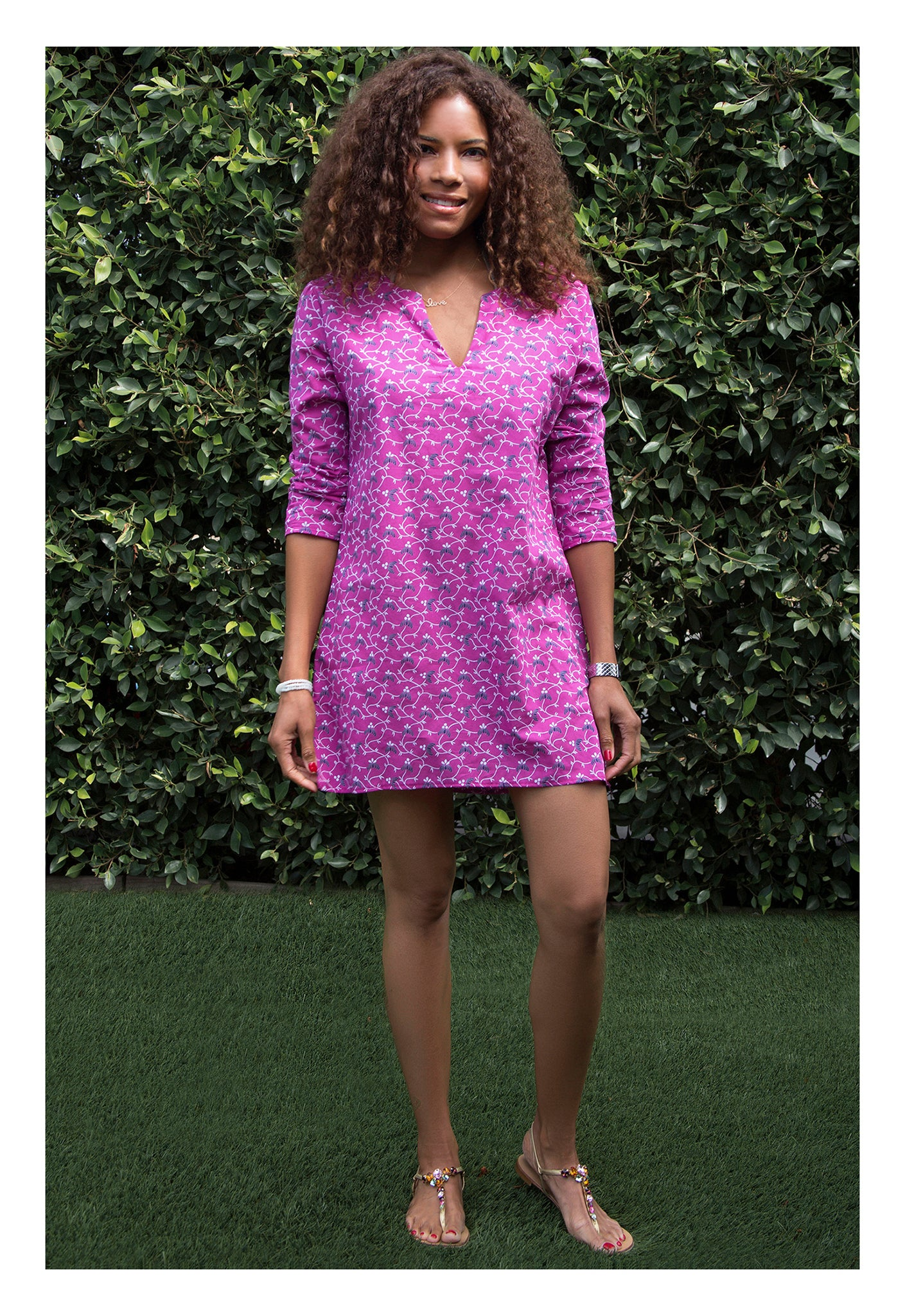 Womens Classic Tunic In Raspberry Vine