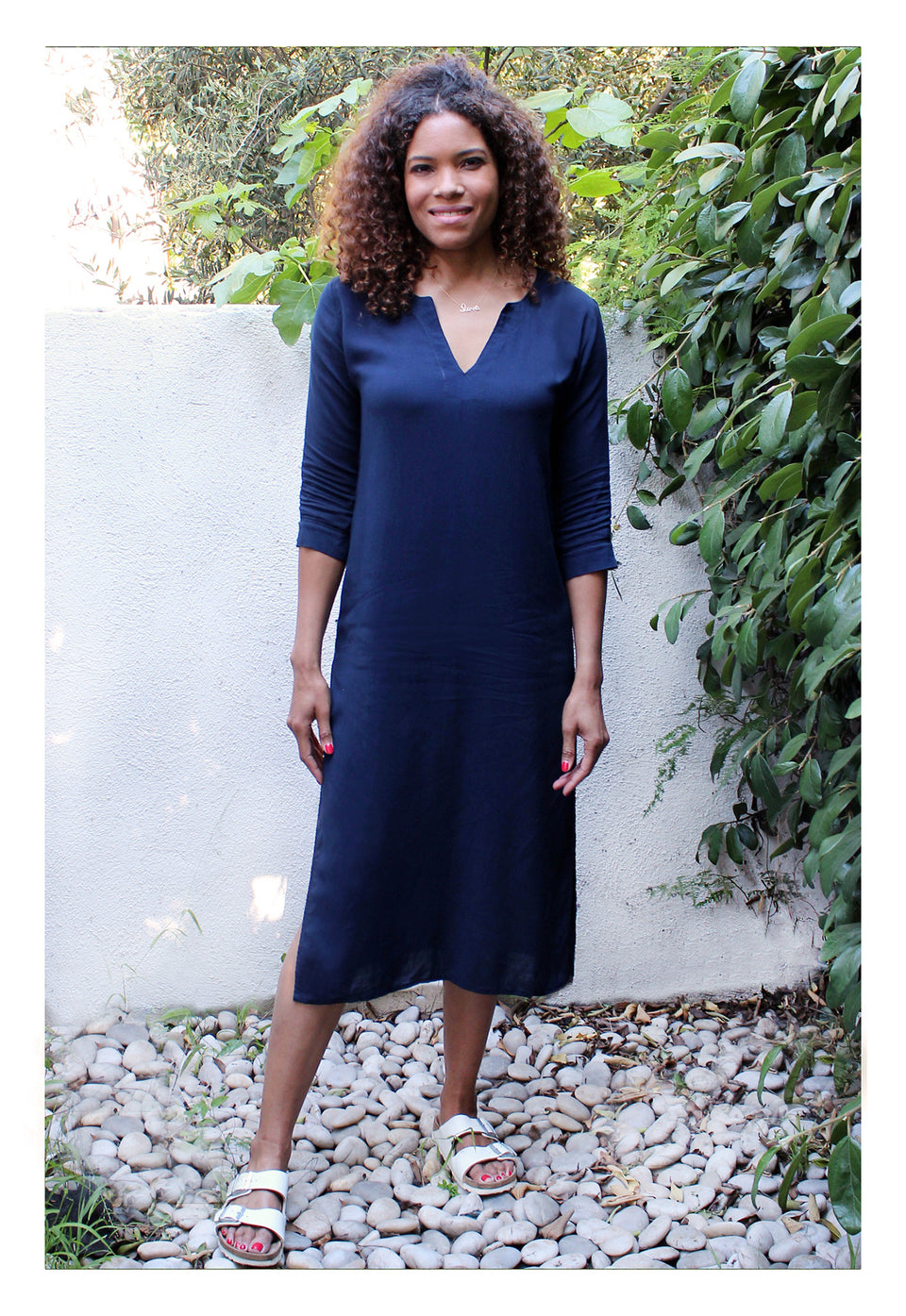 Womens Classic Long Tunic In Navy