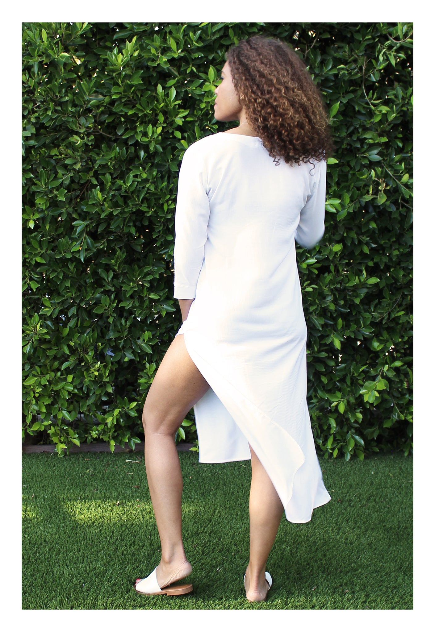 Womens Classic Long Tunic In White