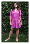 Womens Gathered Tunic In Raspberry Vine
