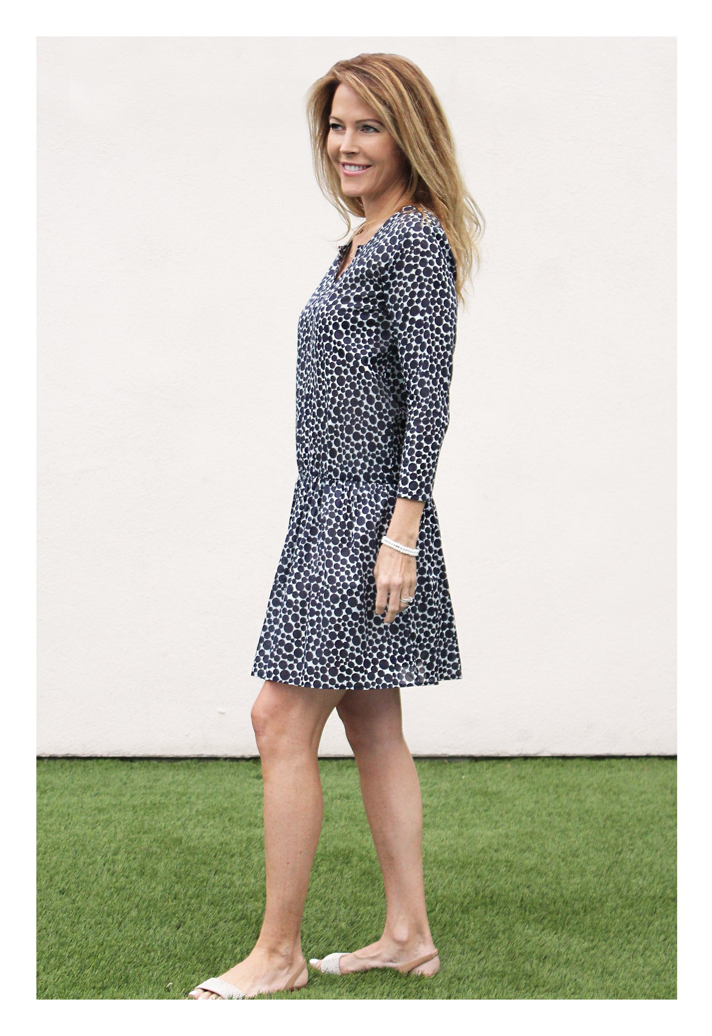 Womens Gathered Tunic In Navy Dot