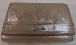Coach Pleated Gold Leather Wallet