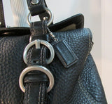 Coach Black Pebble Leather Chelsea Turnlock Satchel