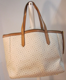 Fossil Beige and Cream Shopper Faux Leather Tote