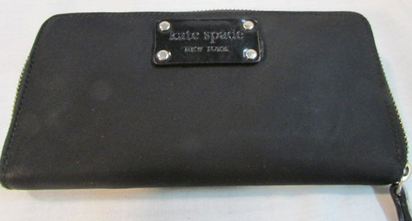 Kate Spade Black Nylon Zip Around Wallet