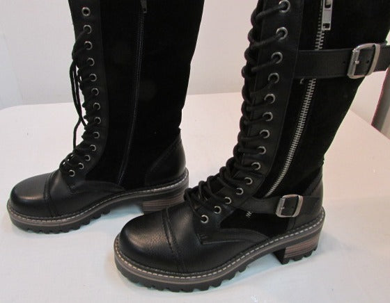 Madden Girl Black Leather Lace Up Boots