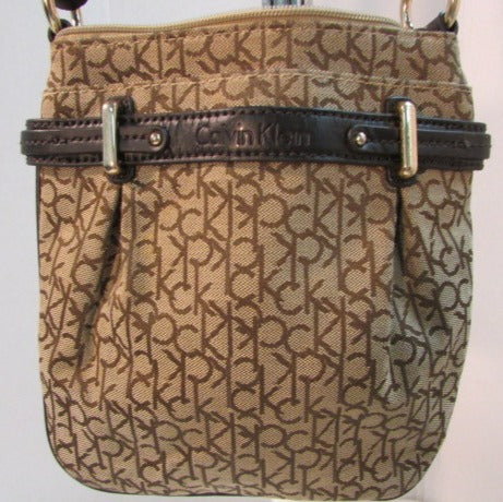 Calvin Klein Brown CK Logo Canvas Crossbody