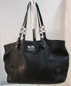 Coach Mia Black Leather East West Gallery Tote