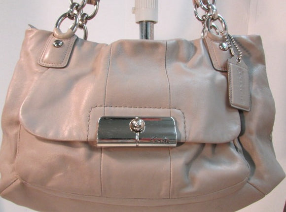 Coach Kristin Large Taupe Leather Satchel