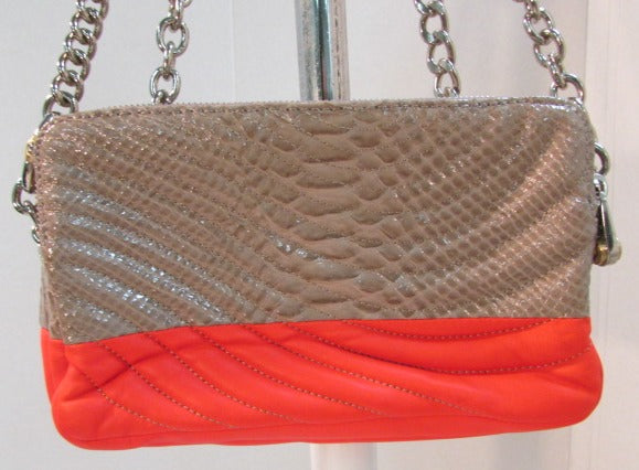 Henri Bendel Orange and Tan Leather Shoulder/Clutch