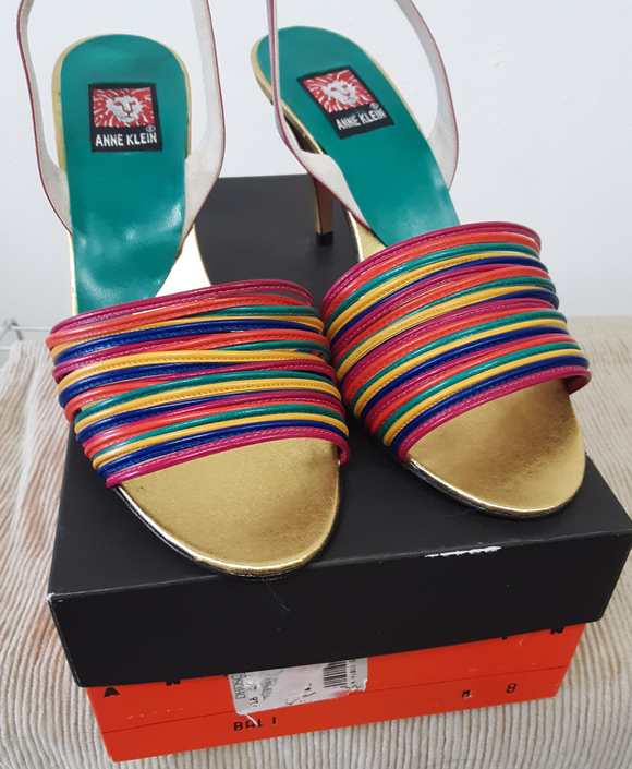Anne Klein Bali Multi-Color Leather Heeled Sandal