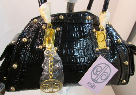 Callabags Black Patent Crocodile Embossed Handbag