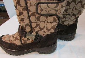 Coach Sharron Brown Nylon and Suede Winter Boots