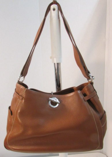 Lamarthe Paris Brown Pebble Leather Shoulder Bag