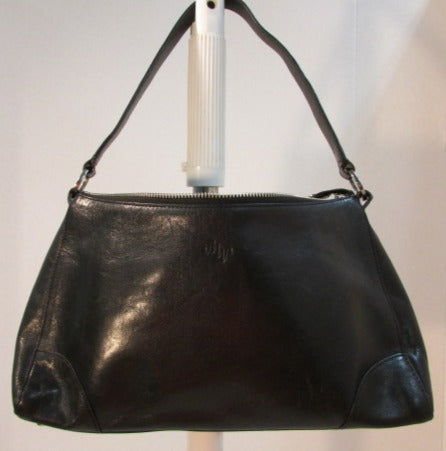 Monsac Black Leather Shoulder Handbag