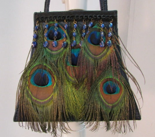 Moo Roo Peacock Feathers and Beads Evening Bag