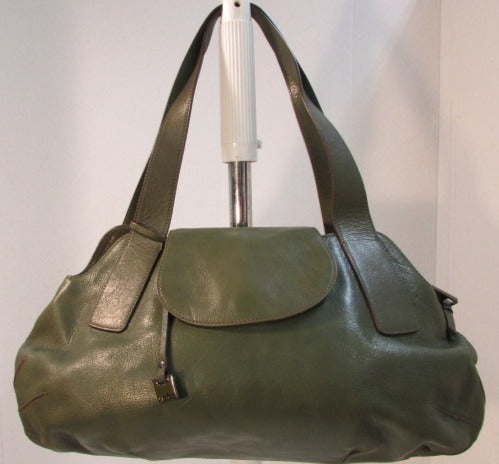 Hobo International Olive Green Leather with Flap Shoulder Tote