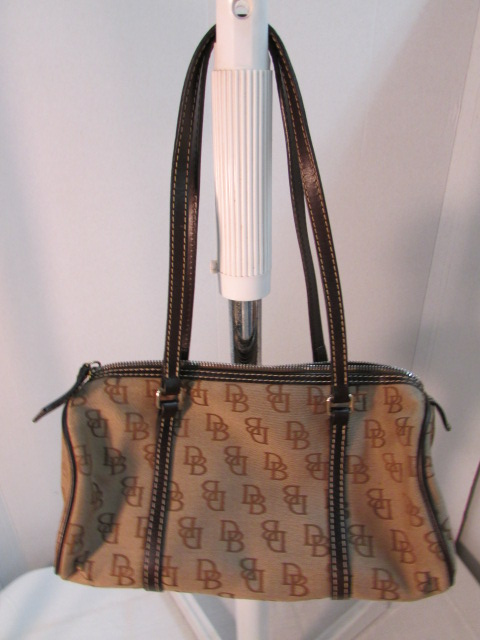 Dooney & Bourke Brown Signature Canvas Barrel Shoulder Bag