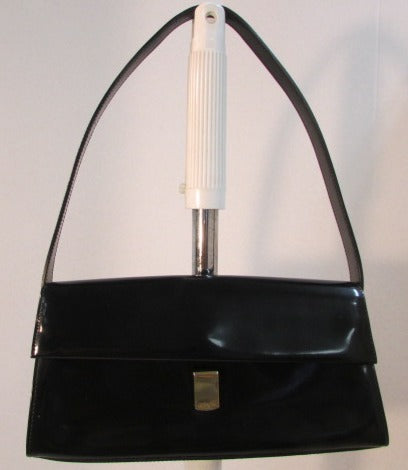 Furla Vintage Gloss Purse Black Leather Made in Italy