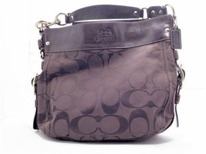 Coach Zoe Large Brown Signature Canvas Hobo Shoulder Bag