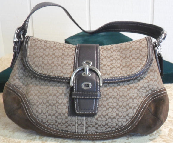 Coach Soho Hobo/Shoulder Brown Signature Jacquard Purse
