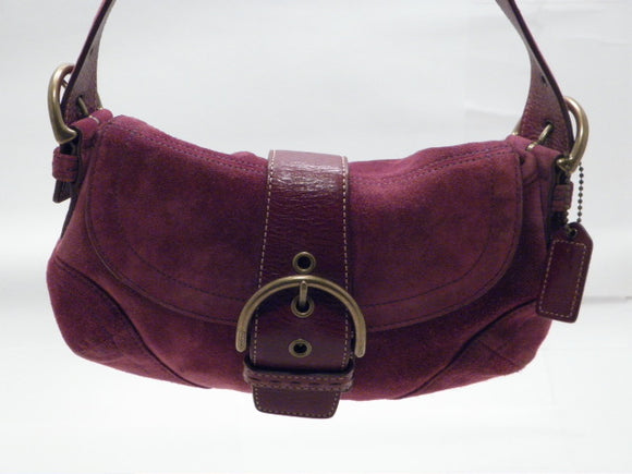 Coach Burgundy Suede Soho Hobo Handbag