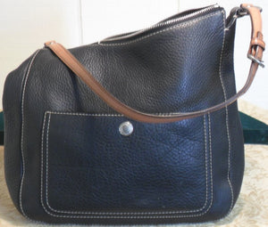 Coach Chelsea Large Black Leather Pebbled Shoulder Bag