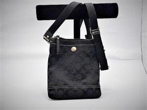 Coach Signature Black Canvas Crossover Purse