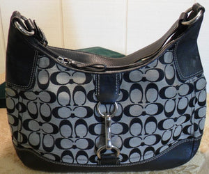 a84fbbcd55315 Coach Signature Hamptons Black and grey Large Hobo – MA   PAS ...