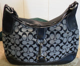 Coach Signature Hamptons Black and grey Large Hobo