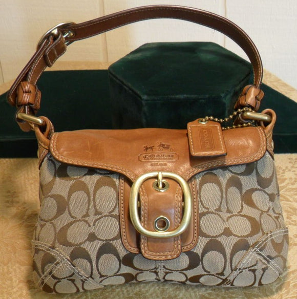 Coach Brown Signature Buckle Flap with Tan Leather Small Hobo Purse
