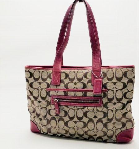 Coach Signature Khaki, Tan and Red Jacquard Leather Purse