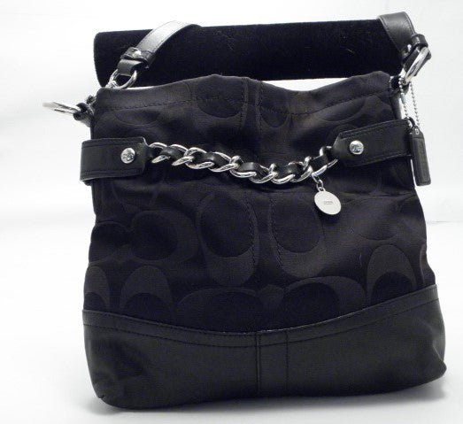 Coach Signature Sateen Chain Cross Body Purse Tote Bag Black