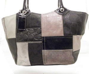 Coach Patchwork Signature Fabric Black, Gold and Grey Suede Leather Shoulder Bag