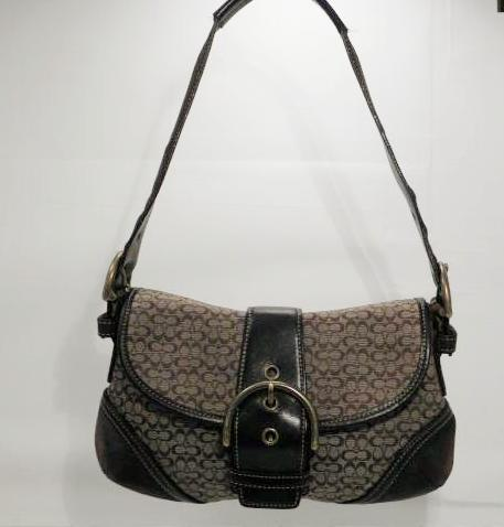 Coach Brown Suede, Jacquard and Leather Hobo Small Signature Purse