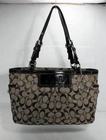 Coach Pleated Gallery Khaki Brown Leather and Jacquard Tote
