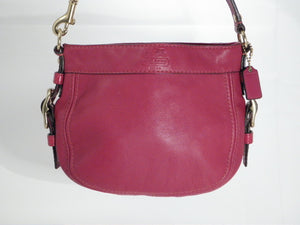 Coach Red Zoe Leather Top Handle Pouch/Shoulder Purse