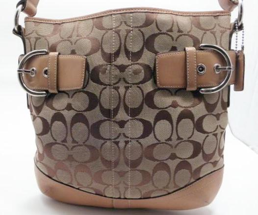 Coach Signature Canvas Shoulder Bag  and Leather Trim