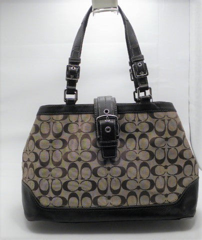 Coach Brown Signature Logo Hampton Carryall Purse