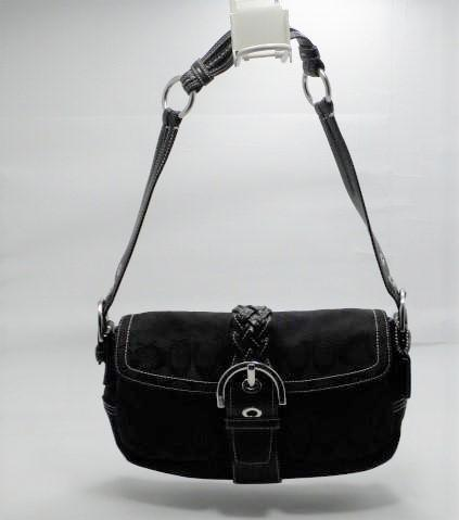 Coach Signature Black Soho Medium Snap Close Hobo Bag