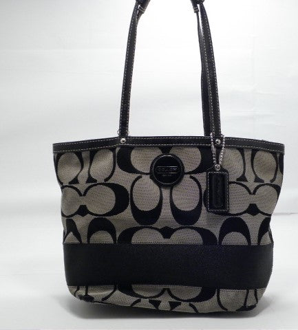 Coach Black and Gray Signature Canvas Stripe Tote Bag