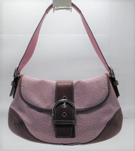 Coach Pink Soho Signature Jacquard Flap Buckle Shoulder Bag