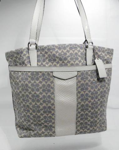 Coach Blue and Cream Signature Jacquard White Leather Stripe and Trim Tote