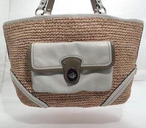Coach Straw Pocket Tan, Off White and Taupe Tote/Shoulder Handbag